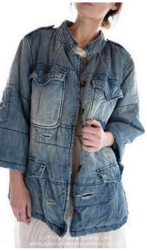 Love Militia Belle Veste Doudoune Denim en Washed Indig