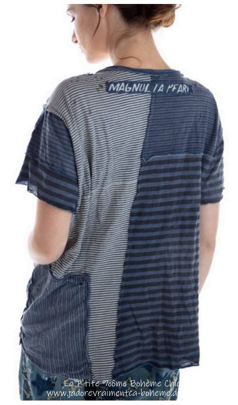 Patched Linear Short Sleeve Sofiane T with Pocket