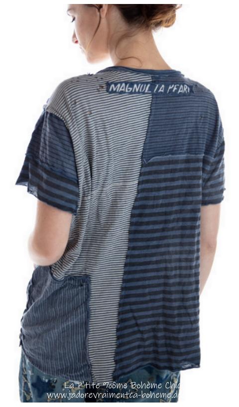 Sofiane T-Shirt En Molly Rayé Avec Poche, Patches & Manches Courtes
