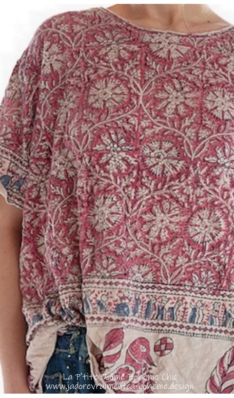 New-Boyfriend T Shirt En Township Block Print fait main