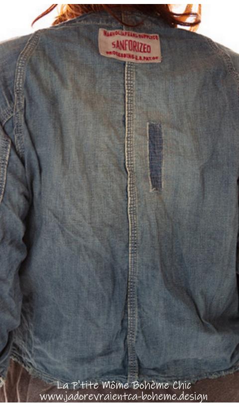 Cosmik Union Cropped Jacket In Indigo Denim