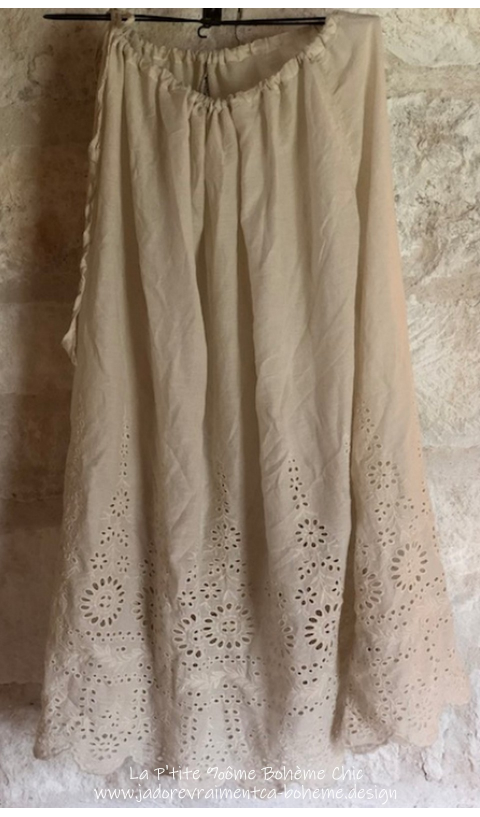 "Skirt ""You Are My Sunflower"" Antique White Eyelet"