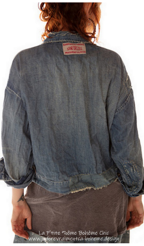 Tucker Veste Denim Très Travaillé En Washed Indigo Denim