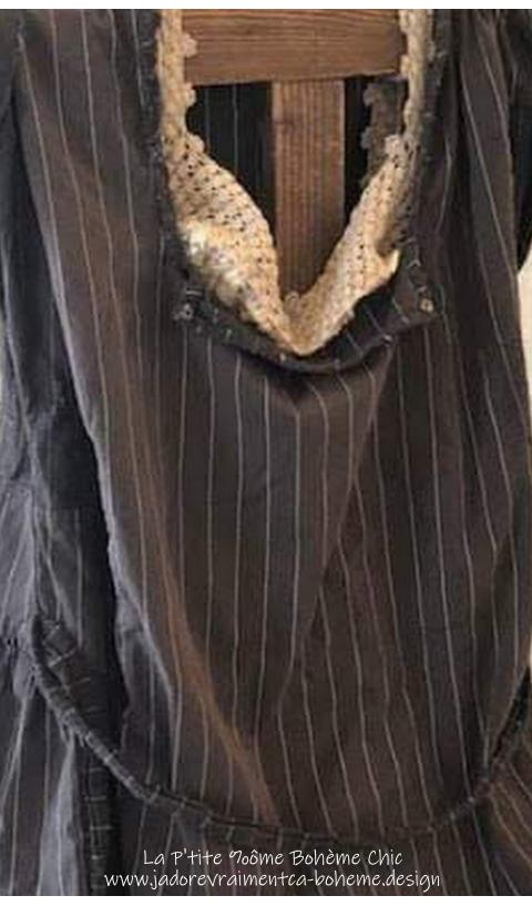 Sienna Robe En Fine Laine & Rayures En Midnight