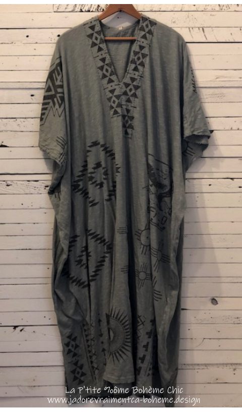 Native Art VEDA KAFTAN Dress In CLAY + Distressing & Mending