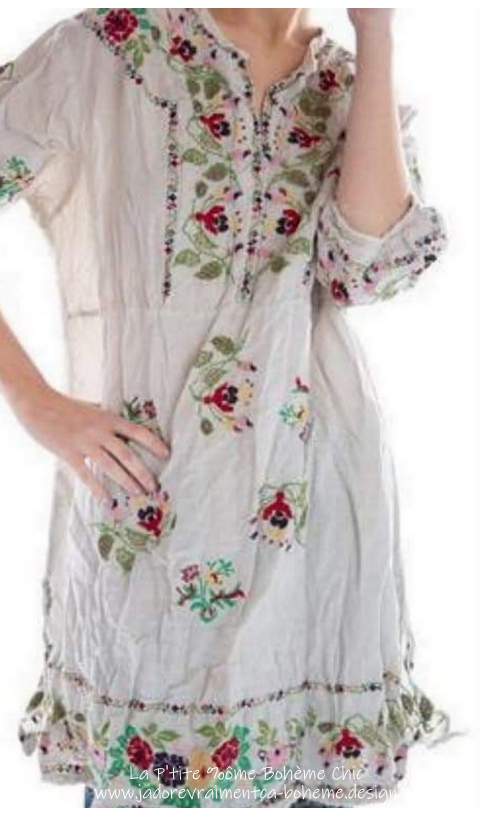 Mirella Robe/Tunique/Chemise En Coton & Lin Brodé main...A-Do-Ra-Ble