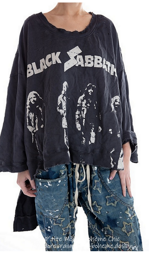 Hi Ho Francis Oversize Pull-Over In Ozzy Black Sabbath In Hand BlockPrinted