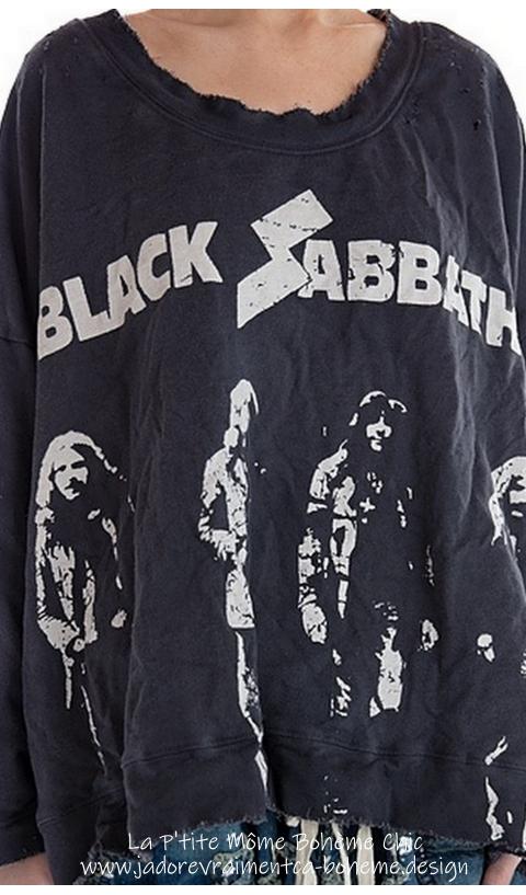 Hi Lo  Francis Oversized Pullover Black Sabbath En Ozzy...J'adore