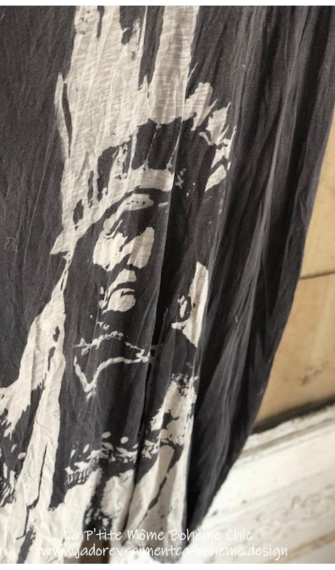 Geronimo Veda Kaftan Robe En Ozzy Blok-Print Fait Main