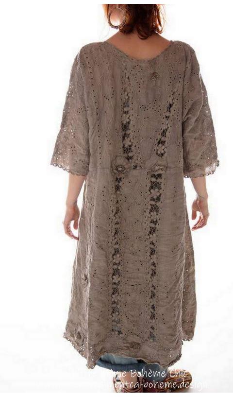 Coronado Robe En Clay Lin Ajouré & Broderies