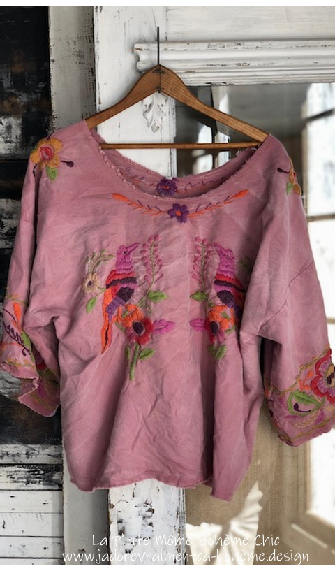 MARGUERITE Hand Embroidered Blouse In VIVA FIESTA + Fading