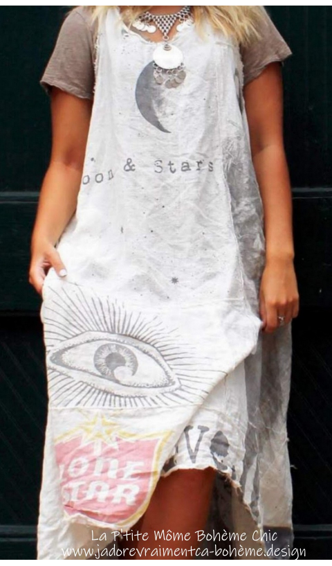 Layla Dress Art Graphics In True Linen with draw edges and Monogram