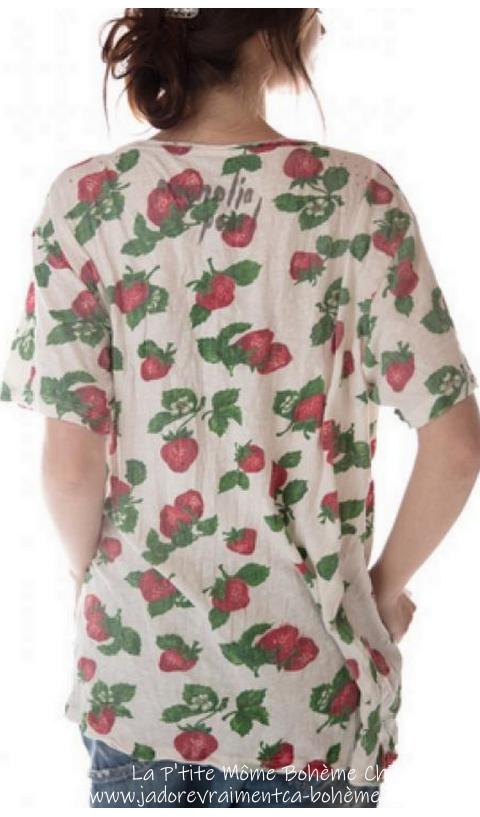 T-Shirt A Fraises En Poteet Coupe Boyfriend