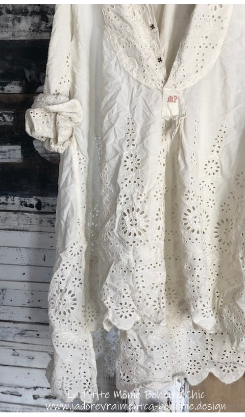 Eyelet Ines Shirt In Antique White with MP Cross Stitch