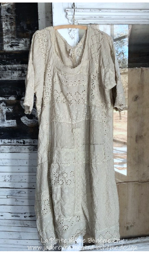 Lilian Dress With Sleeves In Antique White Hand Stitching with Eyelet Hand Patchwork