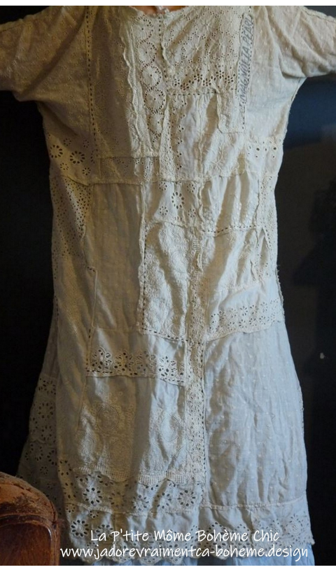 Lilian Slip with Hand Stitching with Eyelet Hand Patchwork