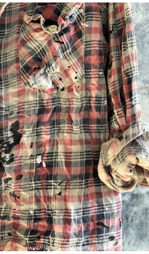 Kelly Western Shirt with Fading, Distressing and Paint