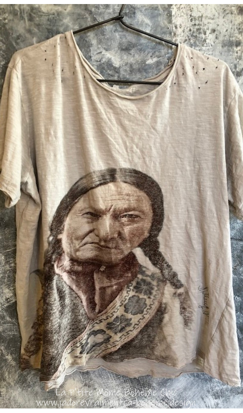 Sitting Bull 1875 Tee in Moonlight With Color Tinted Blockprint