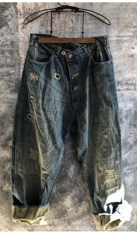 Miner Denim Jeans With Hand Aging and Patching