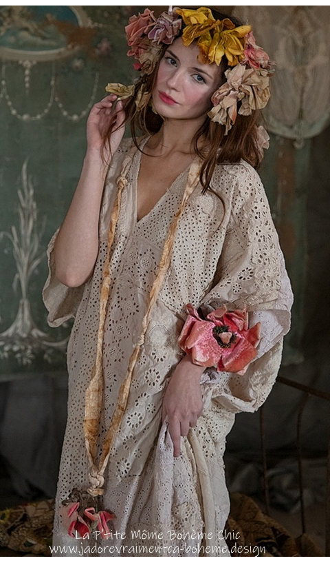 Lilian Kaftan with Hand Stitching And Eyelet Hand Patchwork