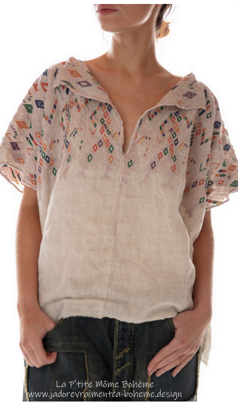 Linen Andi Cropped Poncho with Embroidery And Distressing