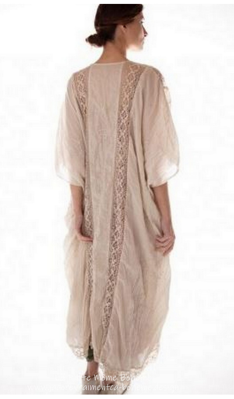 Cora Kimono with Floral Embroidery and Lace Insets in Moonlight
