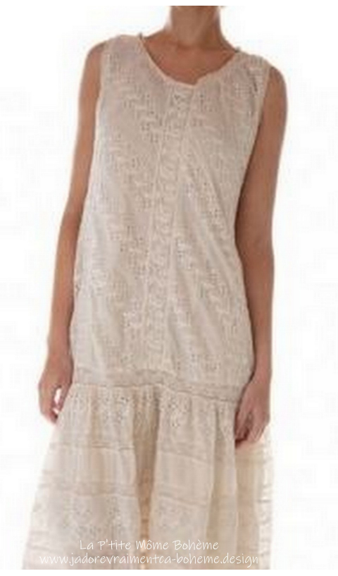 Livia Eyelet Slip Dress with Cotton Lace and Snaps at Back