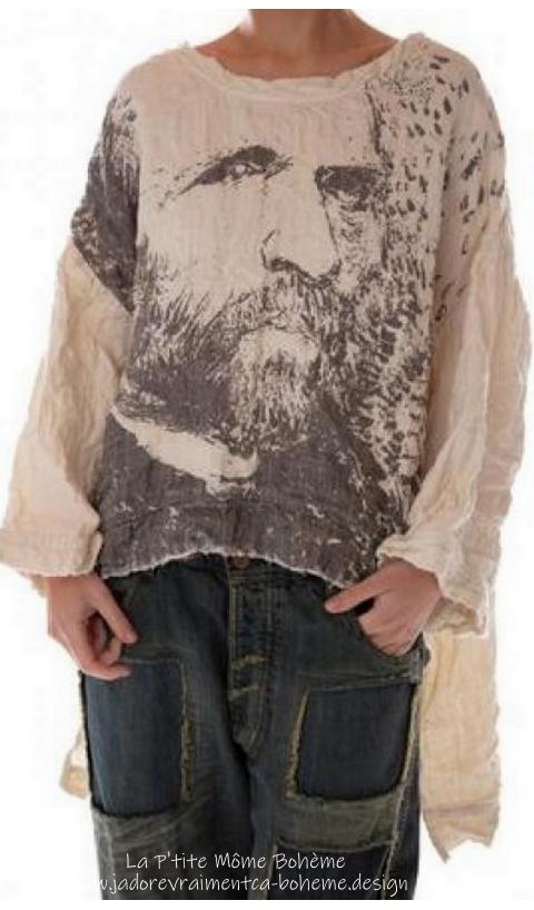 Hi Lo Francis Oversized Quilted Pullover Vincent Van Gogh Imprimé main....J'adore