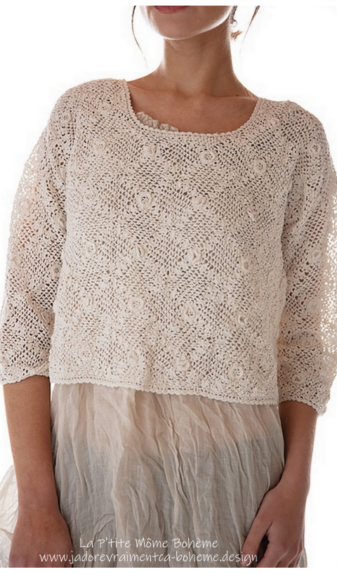 Sherbourne Cropped Sweater in Moonlight Fitted Hand Crochet
