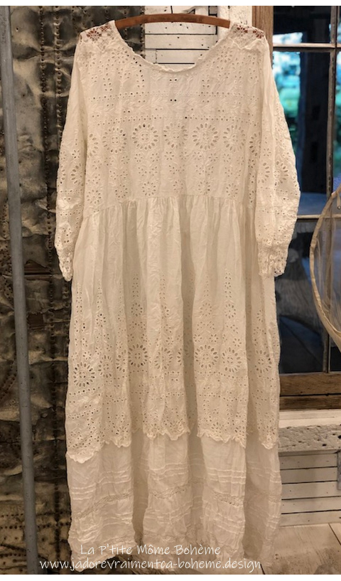 Colette Dress in Moonlight with Lace and Embroidery