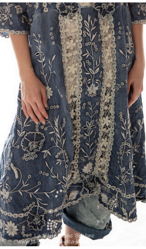 In Progress Coronado Denim Dress With Embroidery & Lace