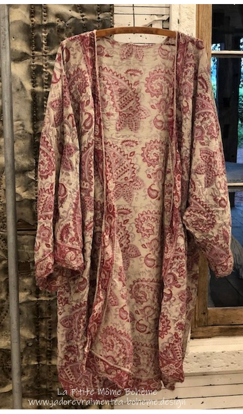En Cours Kimono/Redingote En Antje Impression Main