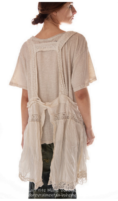 Elli-Faye Apron With Lace & Eyelet Embroidery, As Oversized Pockets