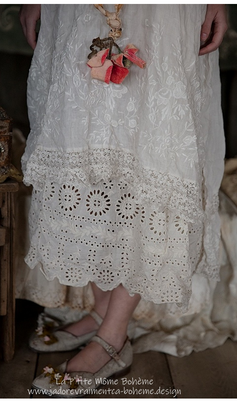 Ramie VIVI ANNE Embroidered Slip Linen + Lace Straps