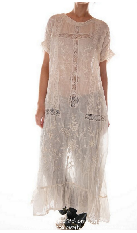 Ramie Anna Grace Embroidered Roses Dress with Lace