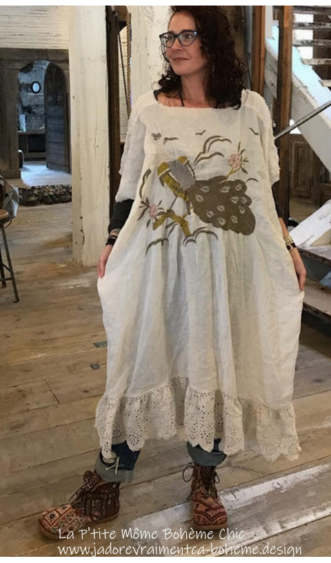 Ramie Peacock Bretta Dress Embroidered In Moonlight with Raw Edges