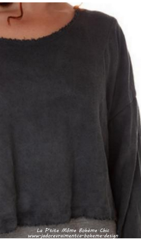 Francis Cropped Pullover In Coal Woven Cotton