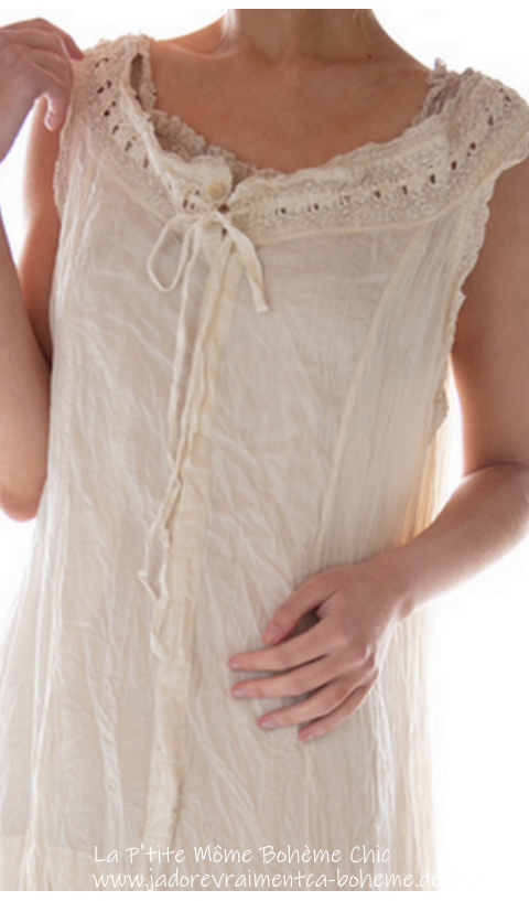 Sofia Grace Eyelet Slip With Lace And Tie