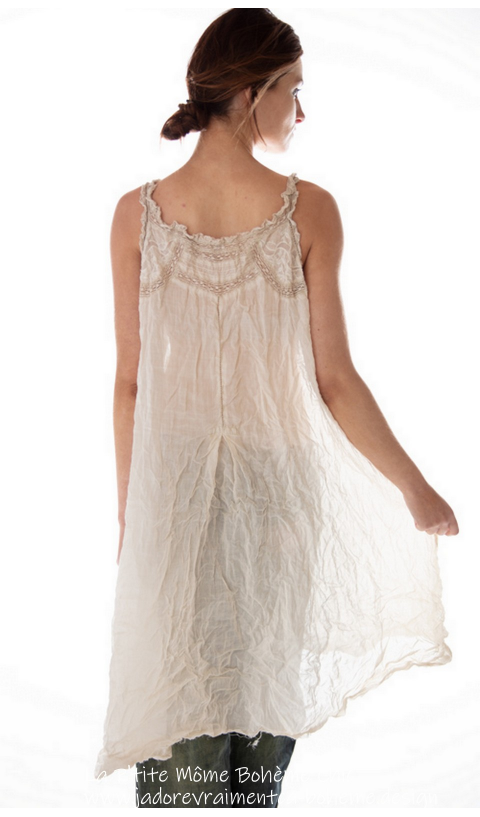 Ramie Embroidered Clementine slip with Lace In Linen