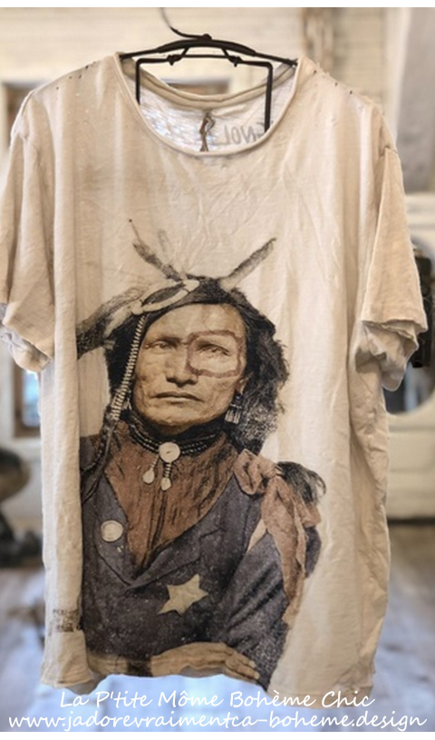 Native American Law T-Shirt En Moonlight,Block Print Teinté Coupe New Boyfriend