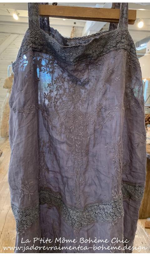 Ramie VIVI ANNE Embroidered Slip In Midnight Linen + Lace Straps