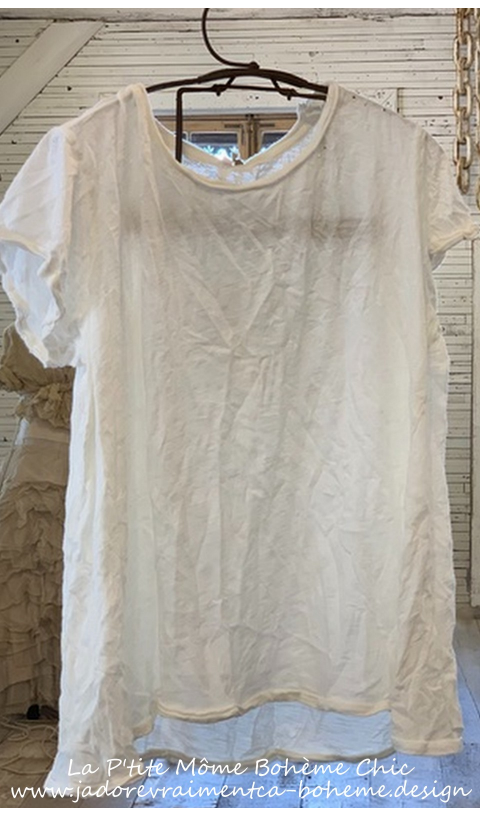 Babydoll Tee-Shirt En True, Trous et Finitions Brutes