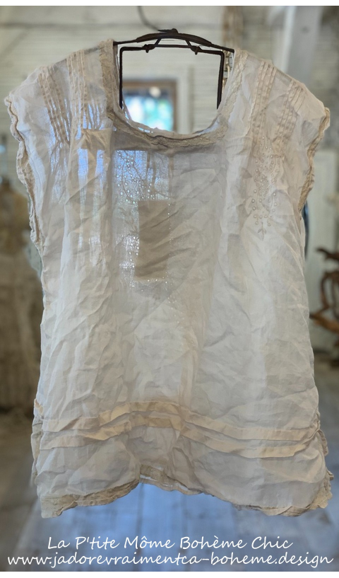 Ramie Embroidered Sydni Smock Blouse In French Vanilla with Pintucks