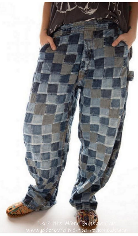 Patchwork Overall Jeans with Side Buttons, Distressing and Fading,
