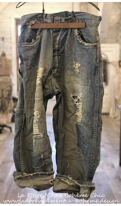Eowyn Denims with Hand Aging, Patching, Distressing In Washed Indigo