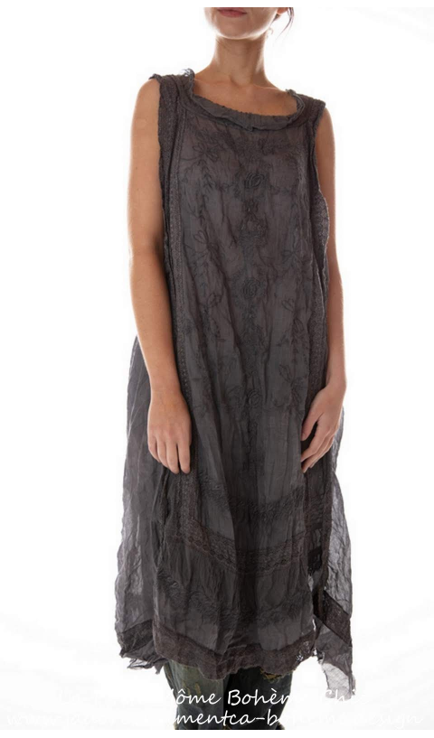 Ramie Anna Cecilie Slip In Midnight  Embroidered with Tulle Details at Neck