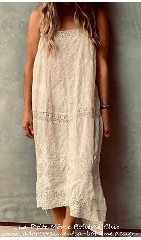 Ramie VIVI ANNE Embroidered Slip Linen + Lace Straps