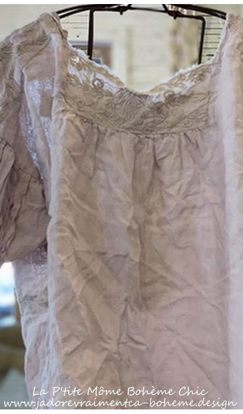 KELDAN blouse + raw edges & Embroideries In LILAC WATER
