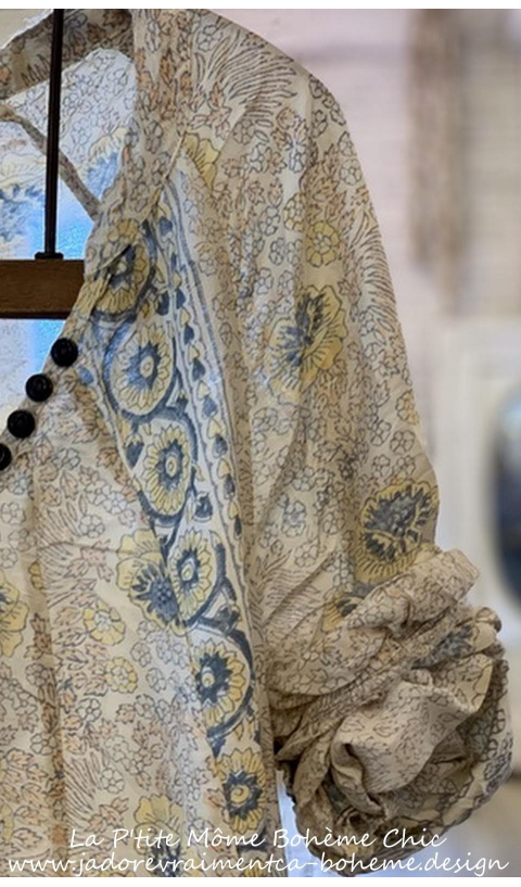 Naadja Sublime Robe En Golden Poppy impression Blockprint