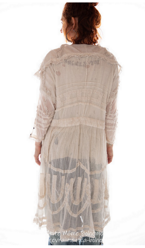 Tulle Marie Trinti Dress with Coton Lace In Ant. White